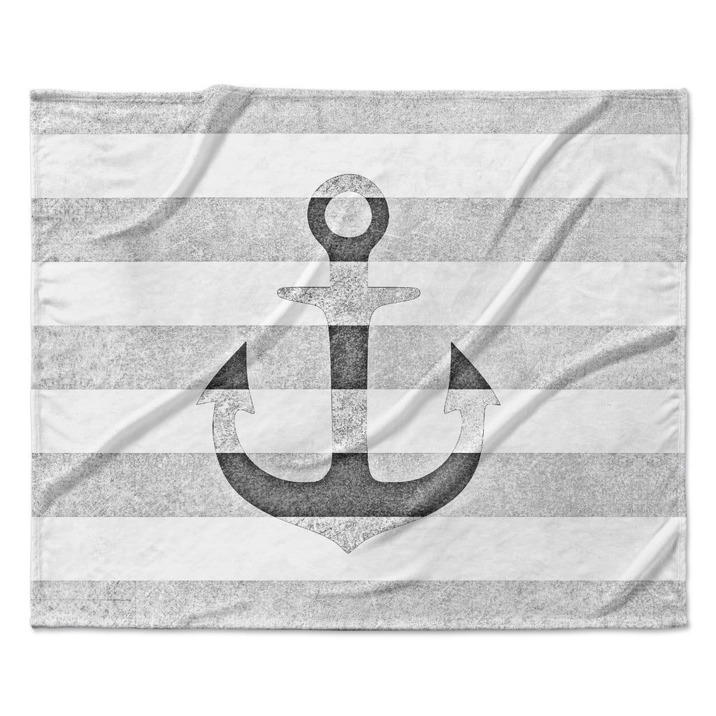 "Monika Strigel ""Stone Vintage Anchor Gray"" White Grey Fleece Throw Blanket"