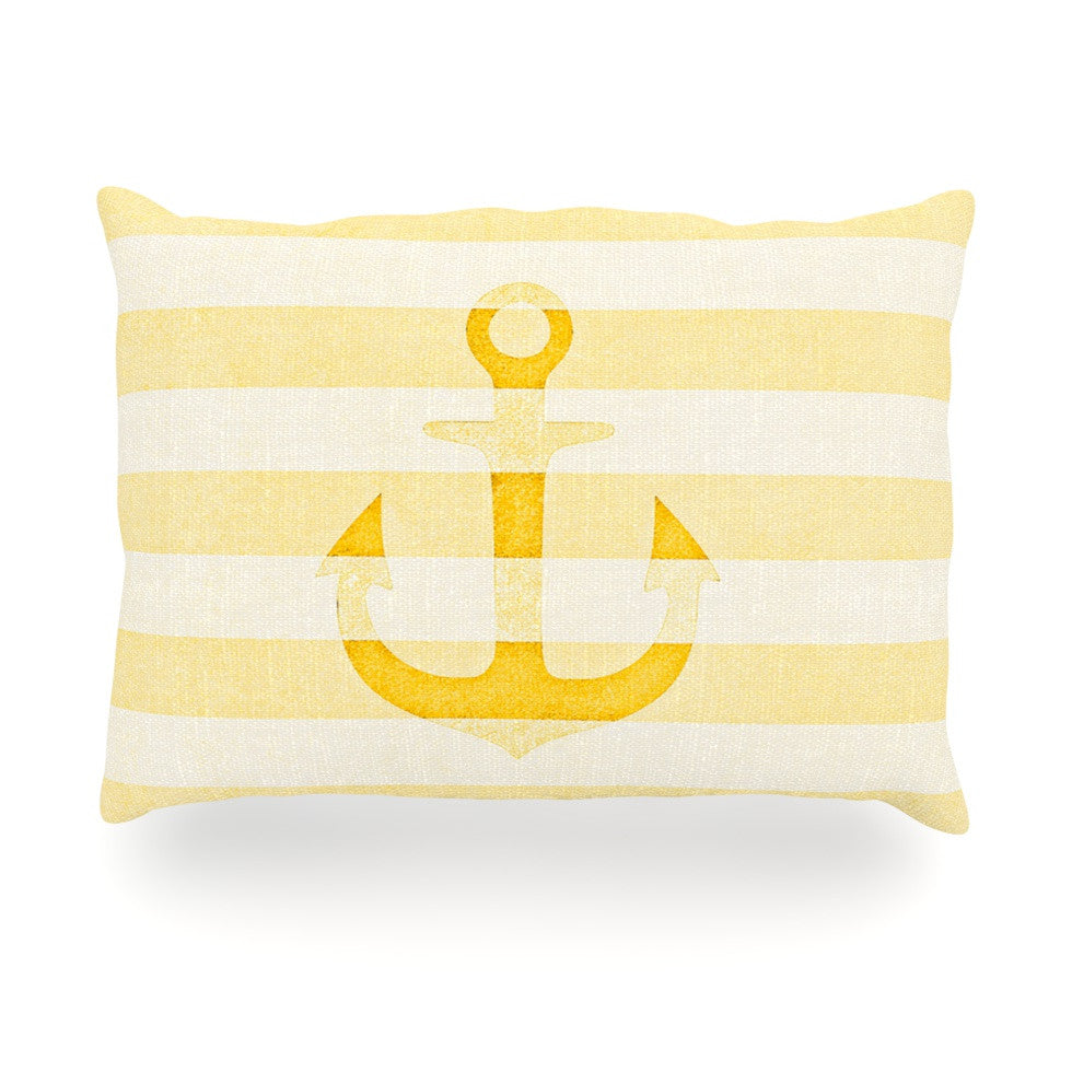 "Monika Strigel ""Stone Vintage Anchor Yellow"" Mustard White Oblong Pillow - KESS InHouse"