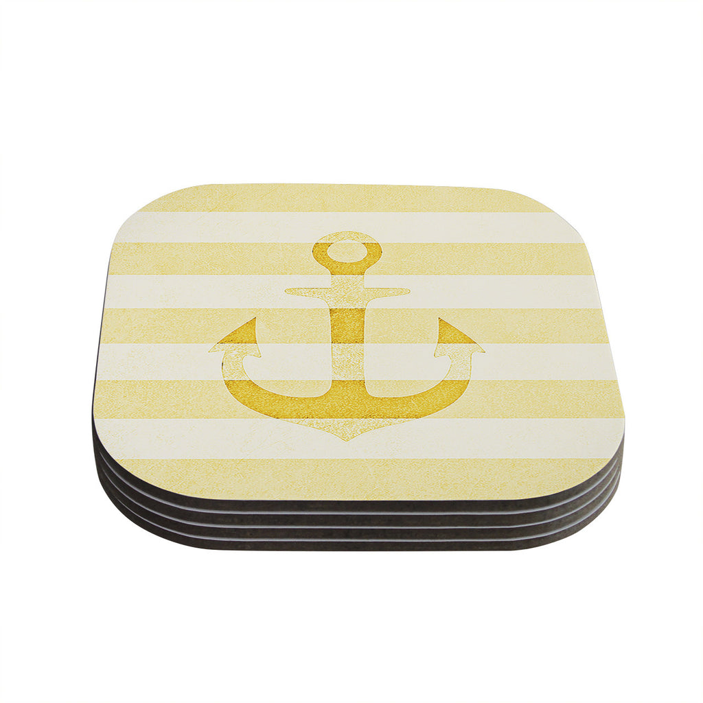 "Monika Strigel ""Stone Vintage Anchor Yellow"" Mustard White Coasters (Set of 4)"