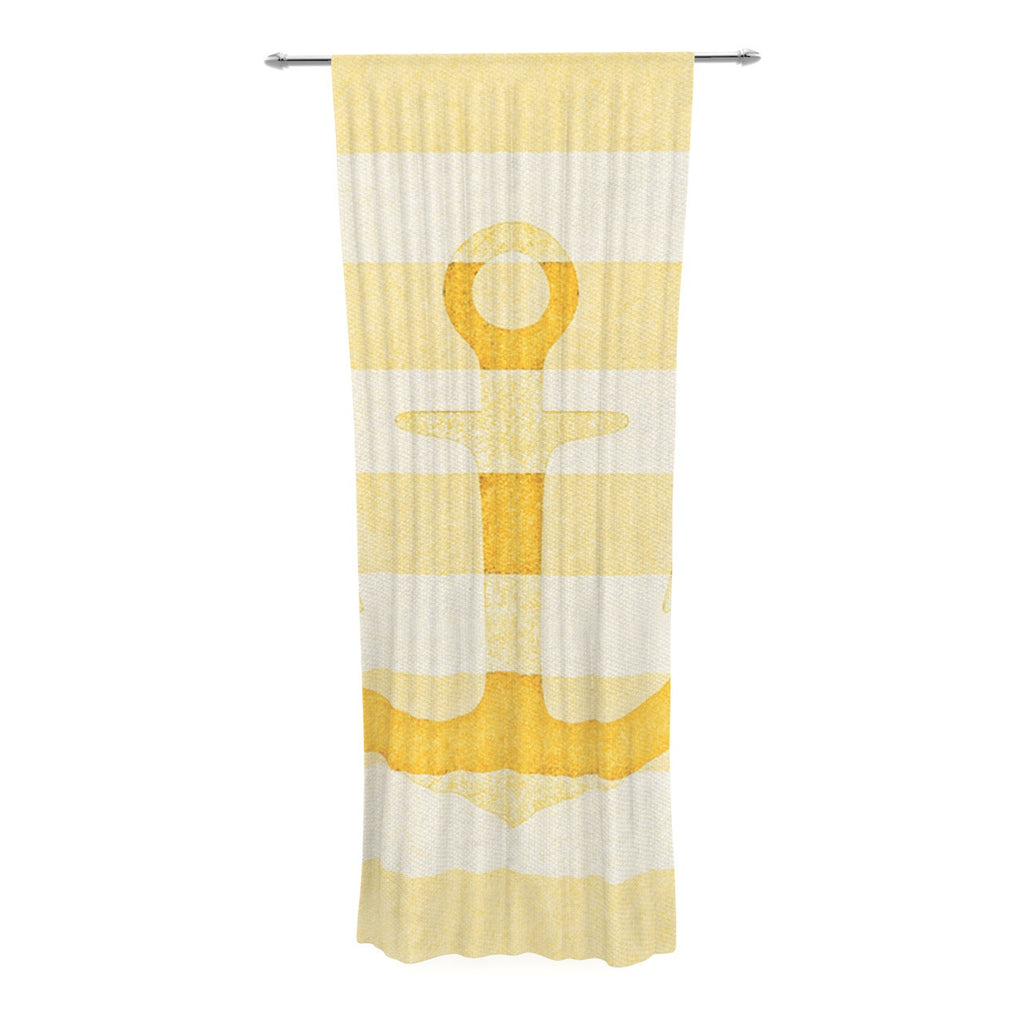 "Monika Strigel ""Stone Vintage Anchor Yellow"" Mustard White Decorative Sheer Curtain - KESS InHouse  - 1"