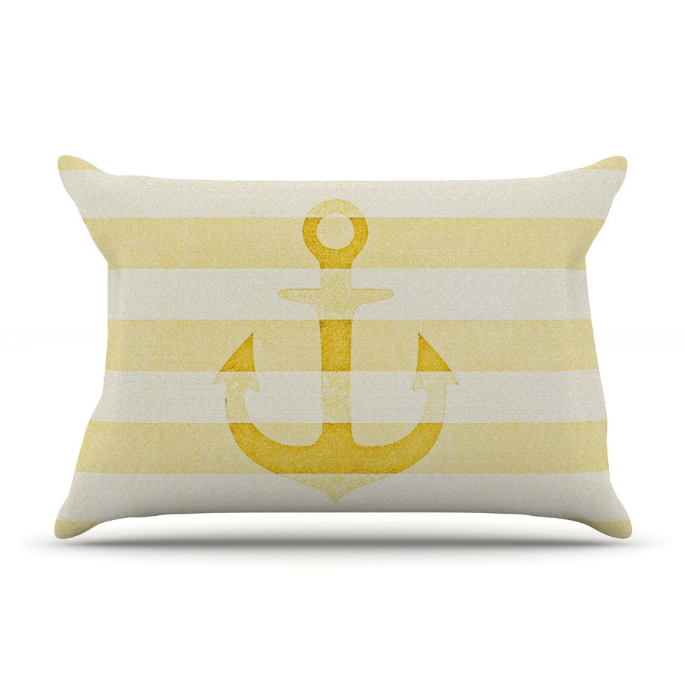 "Monika Strigel ""Stone Vintage Anchor Yellow"" Mustard White Pillow Sham - KESS InHouse"