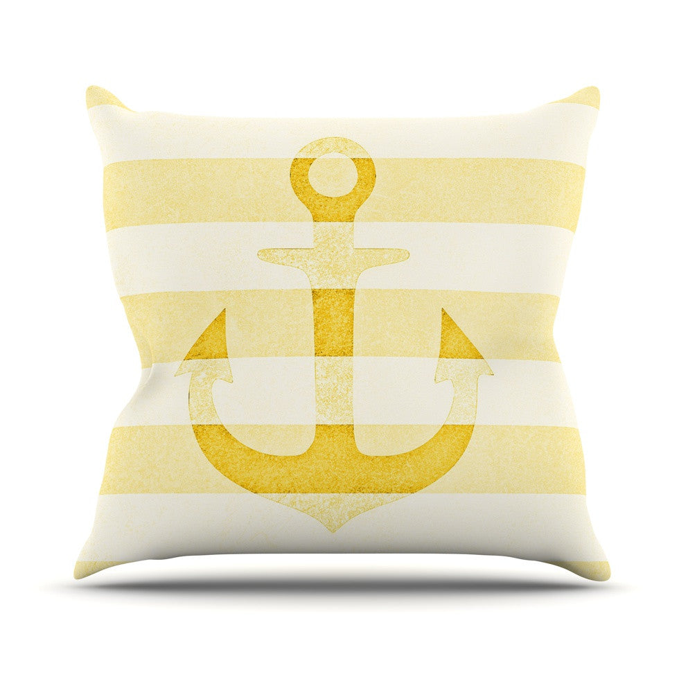 "Monika Strigel ""Stone Vintage Anchor Yellow"" Mustard White Throw Pillow - KESS InHouse  - 1"
