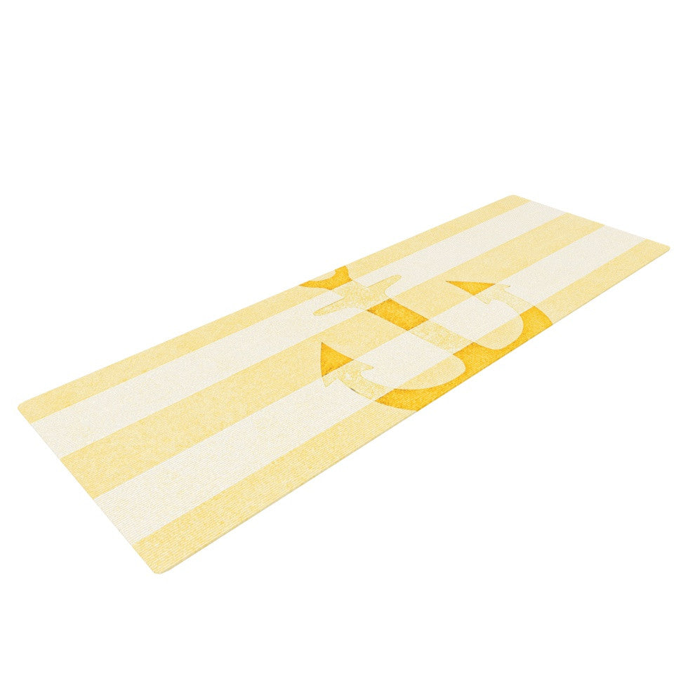 "Monika Strigel ""Stone Vintage Anchor Yellow"" Mustard White Yoga Mat - KESS InHouse  - 1"