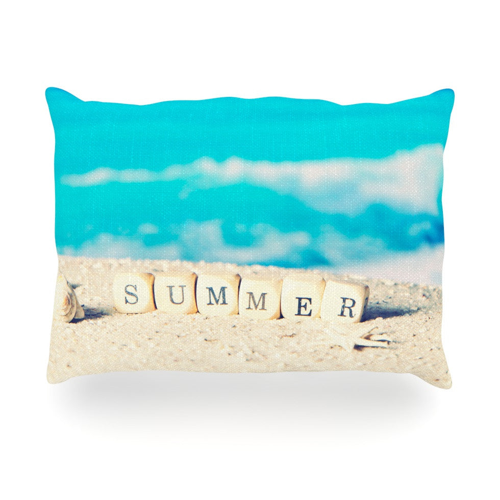 "Monika Strigel ""Summer at the Beach"" Blue Coastal Oblong Pillow - KESS InHouse"