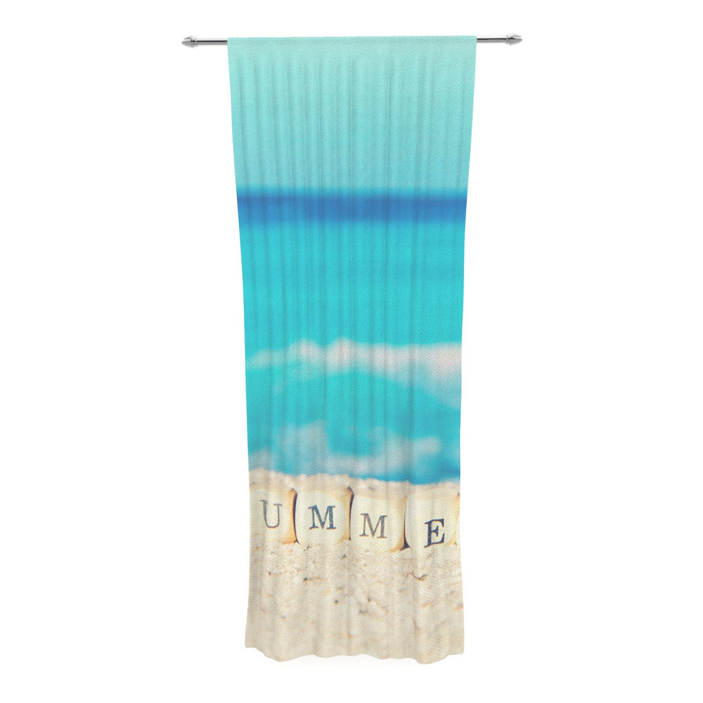 "Monika Strigel ""Summer at the Beach"" Blue Coastal Decorative Sheer Curtain - KESS InHouse  - 1"