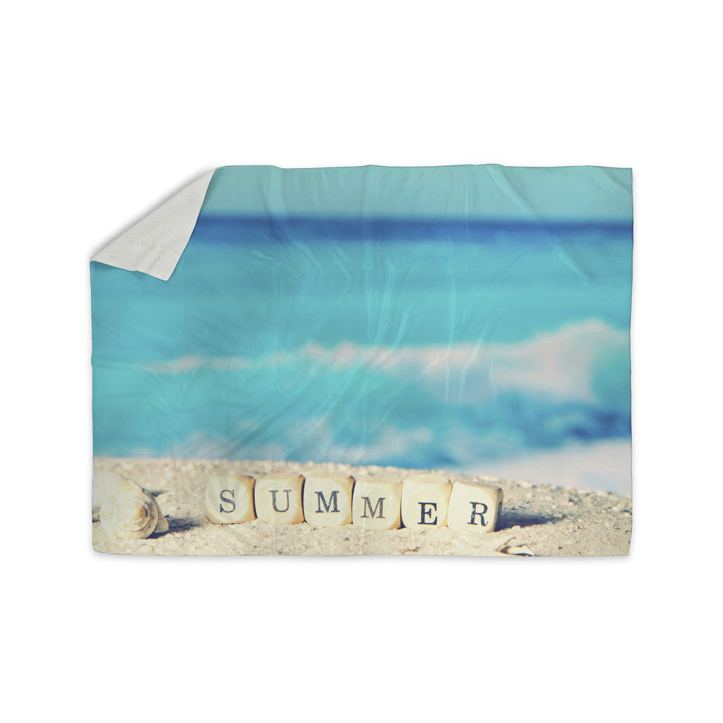 "Monika Strigel ""Summer at the Beach"" Blue Coastal Sherpa Blanket - KESS InHouse  - 1"
