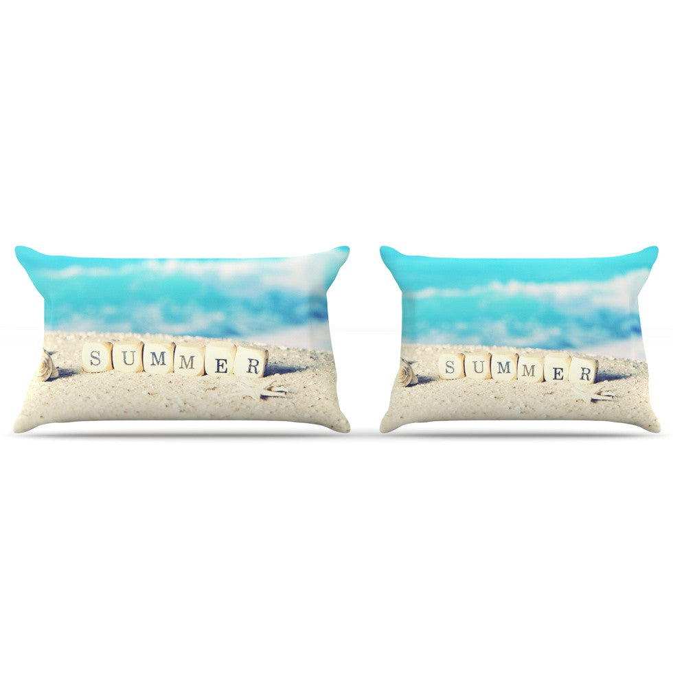 "Monika Strigel ""Summer at the Beach"" Blue Coastal Pillow Sham - KESS InHouse"