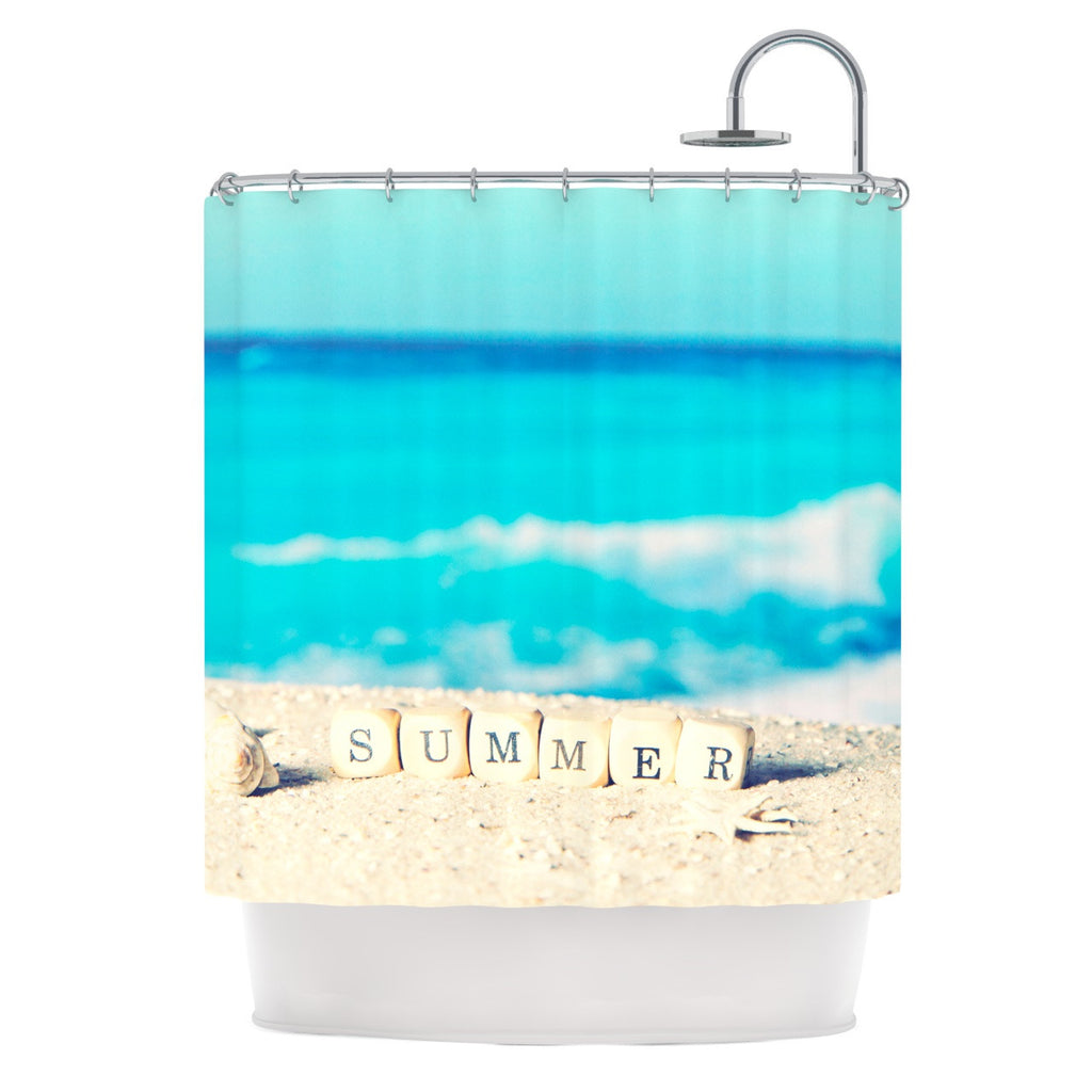 "Monika Strigel ""Summer at the Beach"" Blue Coastal Shower Curtain - KESS InHouse"