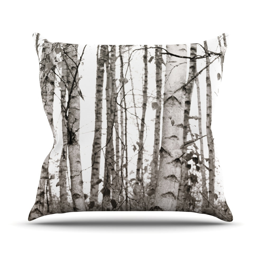 "Monika Strigel ""Birchwood"" Gray Forest Throw Pillow - KESS InHouse  - 1"