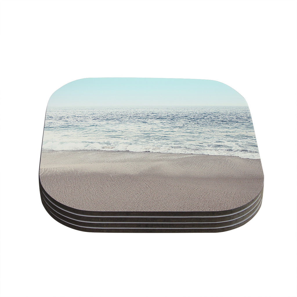 "Monika Strigel ""The Sea"" Blue Coastal Coasters (Set of 4)"