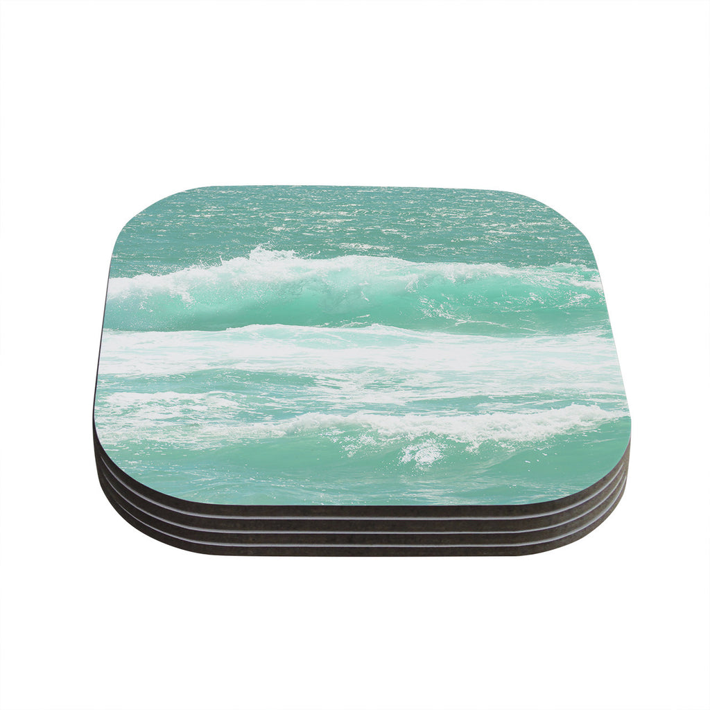 "Monika Strigel ""Maui Waves"" Teal Green Coasters (Set of 4)"