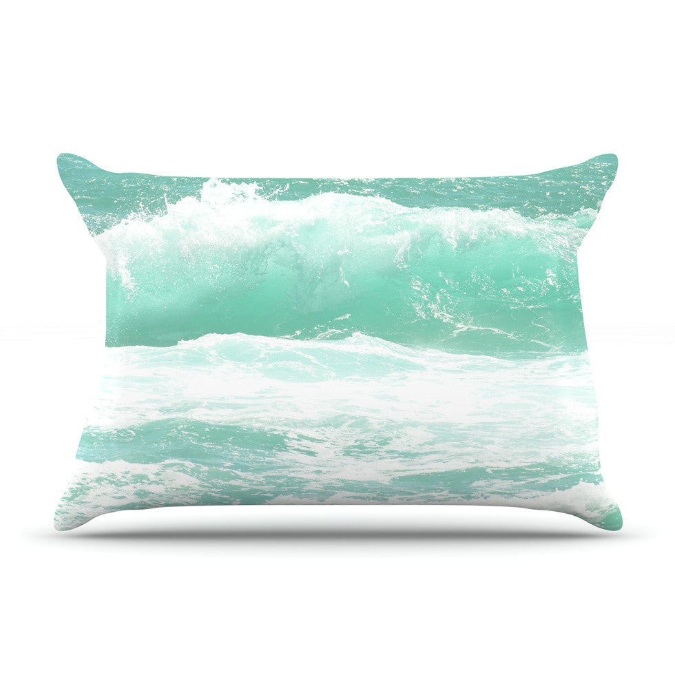 "Monika Strigel ""Maui Waves"" Teal Green Pillow Sham - KESS InHouse"