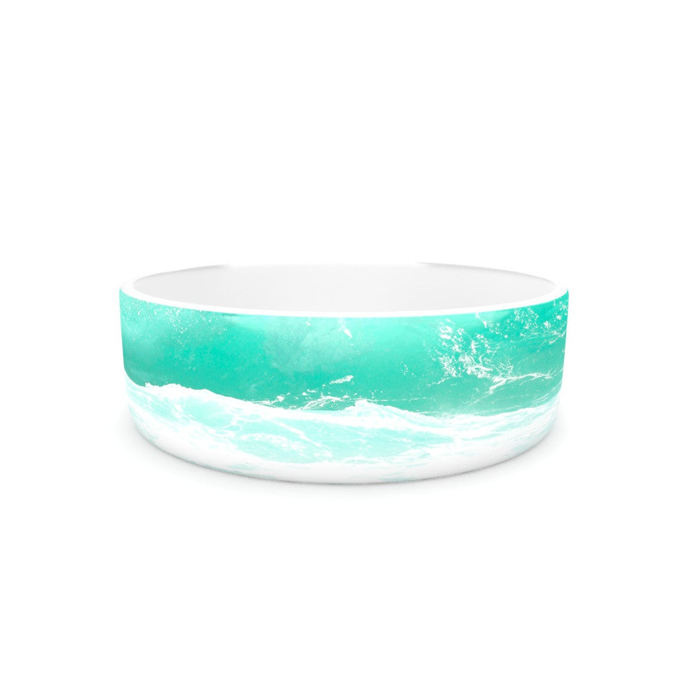"Monika Strigel ""Maui Waves"" Teal Green Pet Bowl - KESS InHouse"