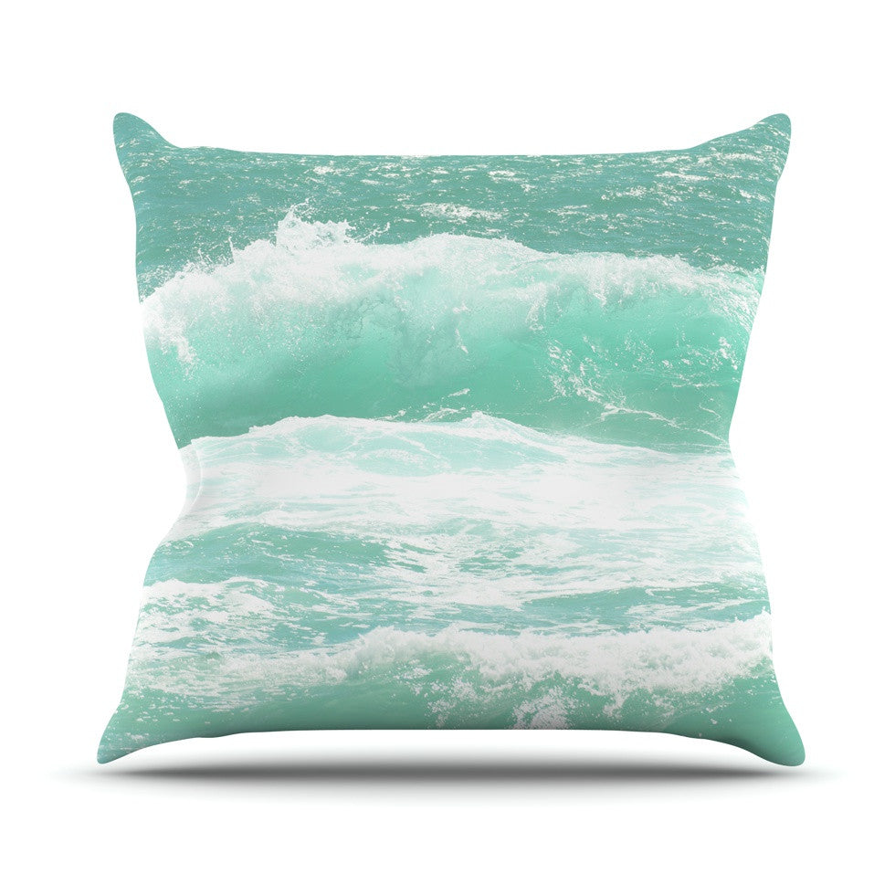 "Monika Strigel ""Maui Waves"" Teal Green Outdoor Throw Pillow - KESS InHouse  - 1"