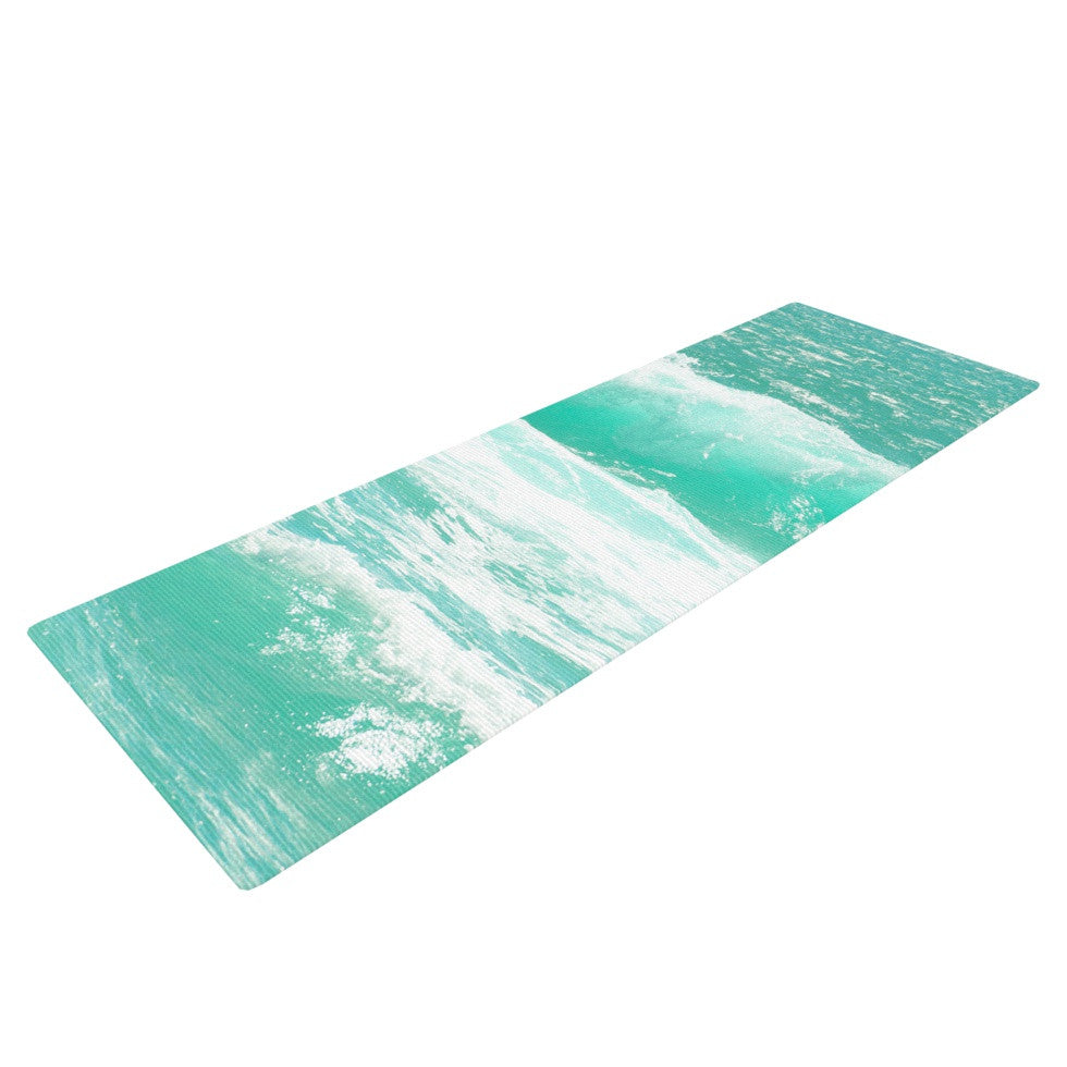 "Monika Strigel ""Maui Waves"" Teal Green Yoga Mat - KESS InHouse  - 1"