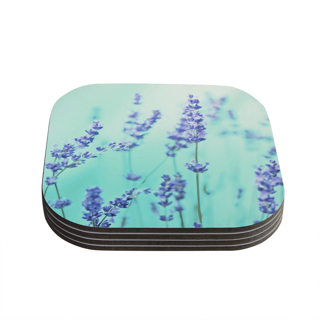 "Monika Strigel ""Mint Lavender"" Teal Purple Coasters (Set of 4)"