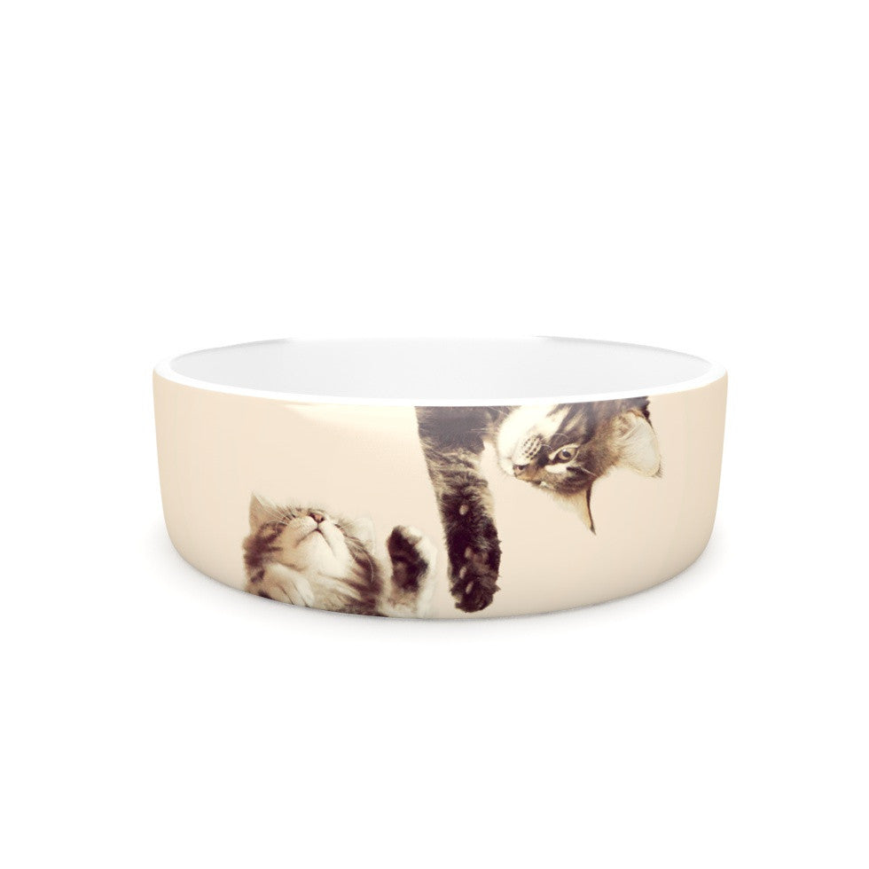 "Monika Strigel ""Upside Down"" Brown Cats Pet Bowl - KESS InHouse"