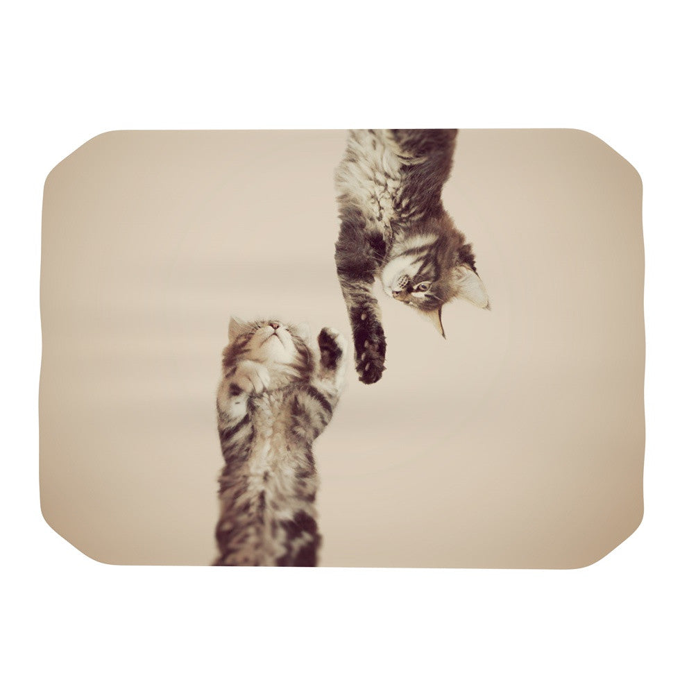 "Monika Strigel ""Upside Down"" Brown Cats Place Mat - KESS InHouse"