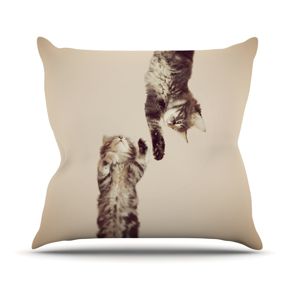 "Monika Strigel ""Upside Down"" Brown Cats Throw Pillow - KESS InHouse  - 1"