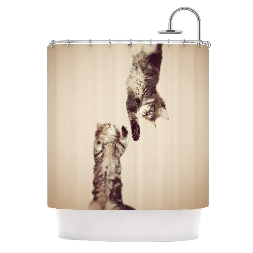"Monika Strigel ""Upside Down"" Brown Cats Shower Curtain - KESS InHouse"