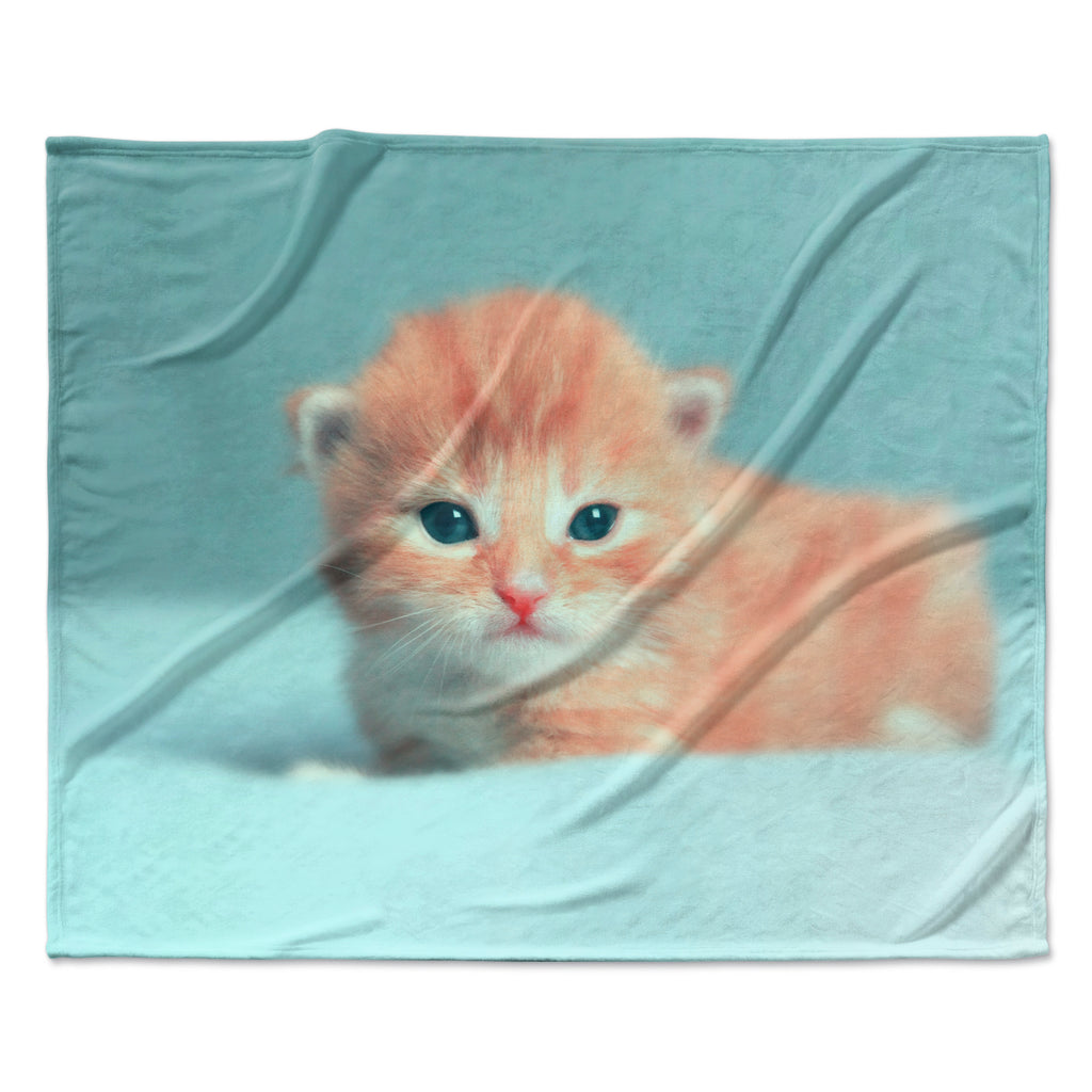 "Monika Strigel ""Dreamcat"" Orange Blue Fleece Throw Blanket"
