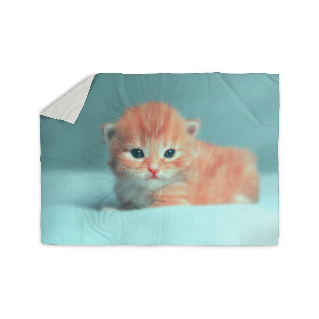 "Monika Strigel ""Dreamcat"" Orange Blue Sherpa Blanket - KESS InHouse  - 1"