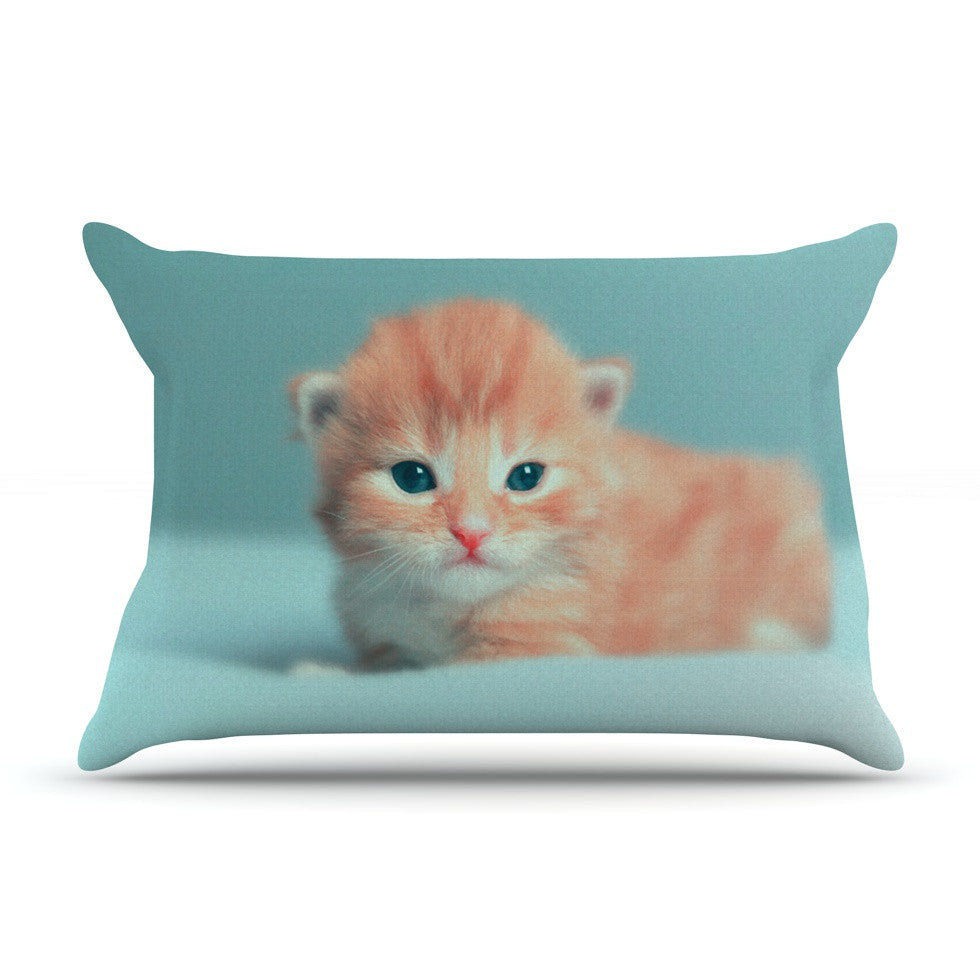 "Monika Strigel ""Dreamcat"" Orange Blue Pillow Sham - KESS InHouse"
