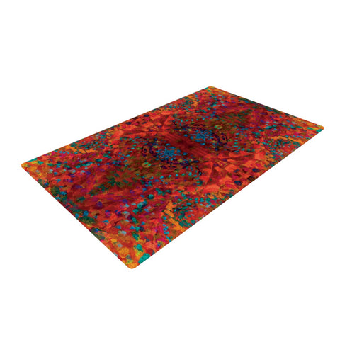 "Nikposium ""Red Sea"" Orange Abstract Woven Area Rug - Outlet Item"