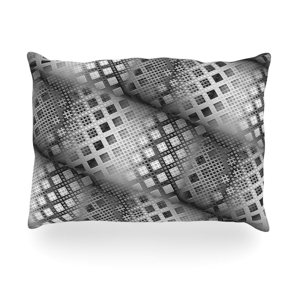 "Michael Sussna ""Array Decay"" Checkered Gray Oblong Pillow - KESS InHouse"