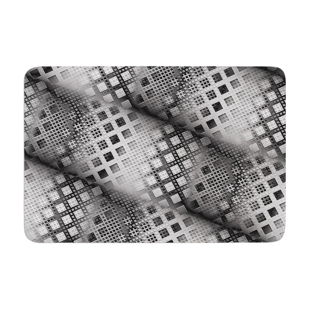 "Michael Sussna ""Array Decay"" Checkered Gray Memory Foam Bath Mat - KESS InHouse"