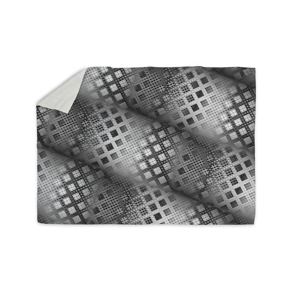 "Michael Sussna ""Array Decay"" Checkered Gray Sherpa Blanket - KESS InHouse  - 1"