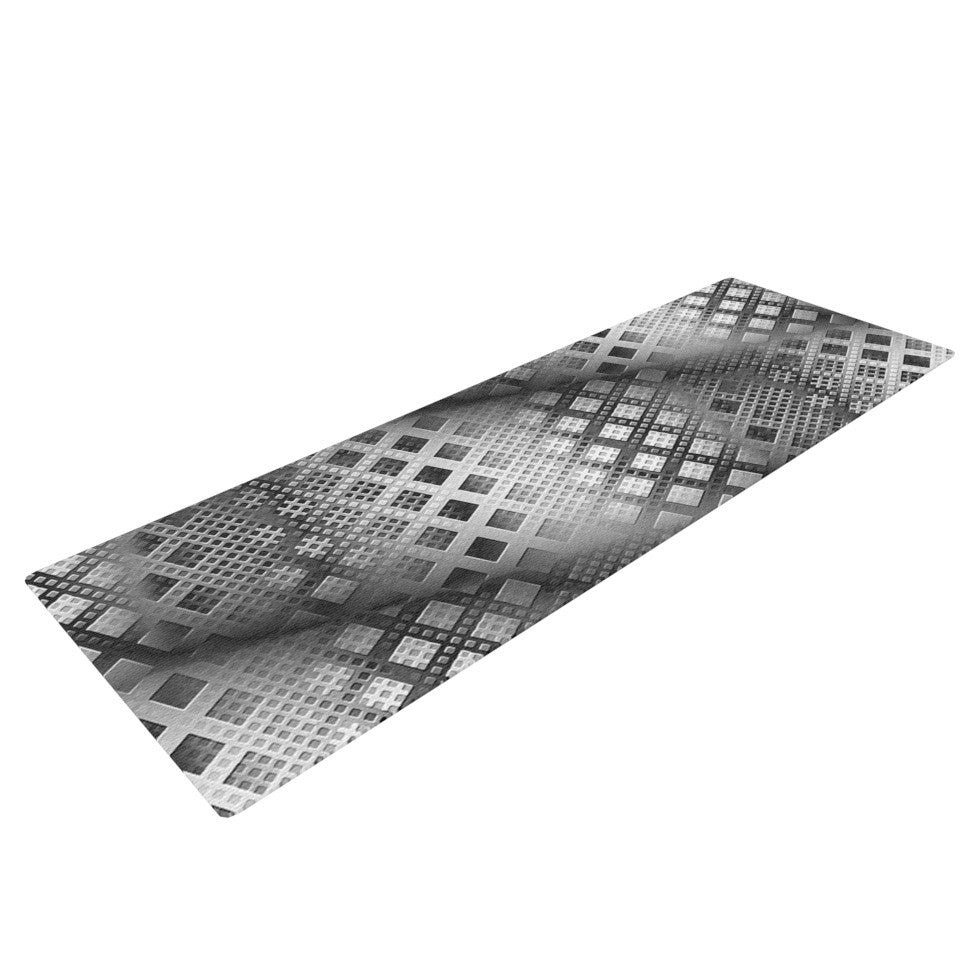 "Michael Sussna ""Array Decay"" Checkered Gray Yoga Mat - KESS InHouse  - 1"