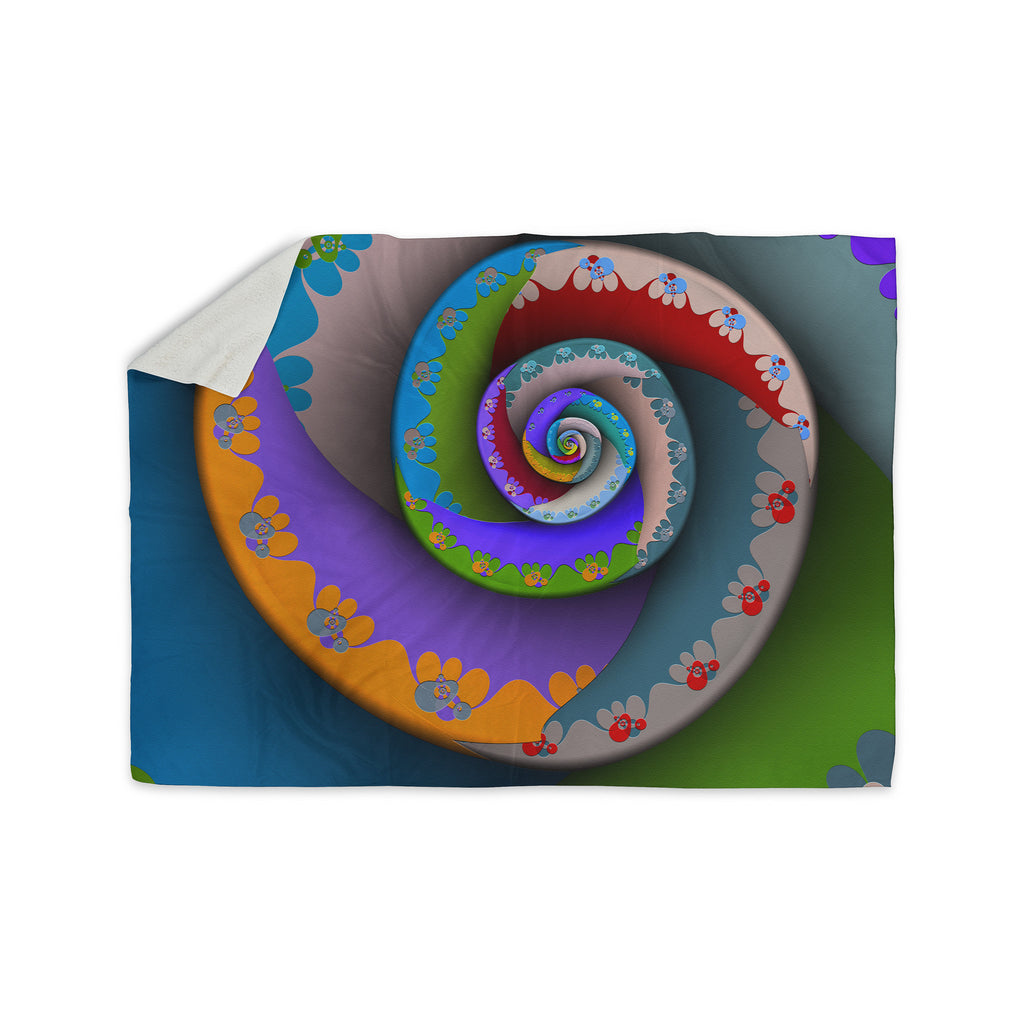 "Michael Sussna ""Flor Essence"" Rainbow Spiral Sherpa Blanket - KESS InHouse  - 1"