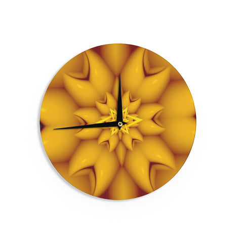 "Michael Sussna ""Citrus Star"" Orange Yellow Wall Clock - KESS InHouse"
