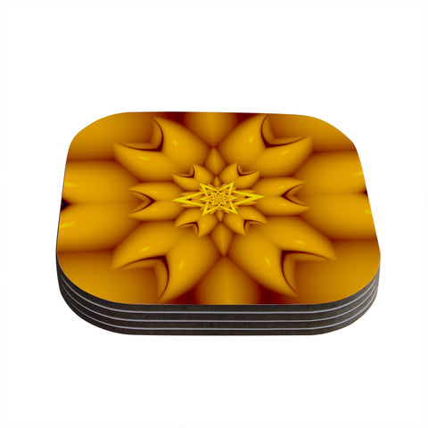 "Michael Sussna ""Citrus Star"" Orange Yellow Coasters (Set of 4)"