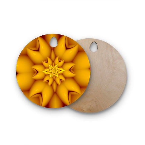 "Michael Sussna ""Citrus Star"" Orange Yellow Round Wooden Cutting Board"