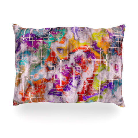 "Michael Sussna ""Quantum Foam"" Rainbow Geometric Oblong Pillow - KESS InHouse"