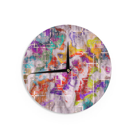 "Michael Sussna ""Quantum Foam"" Rainbow Geometric Wall Clock - KESS InHouse"