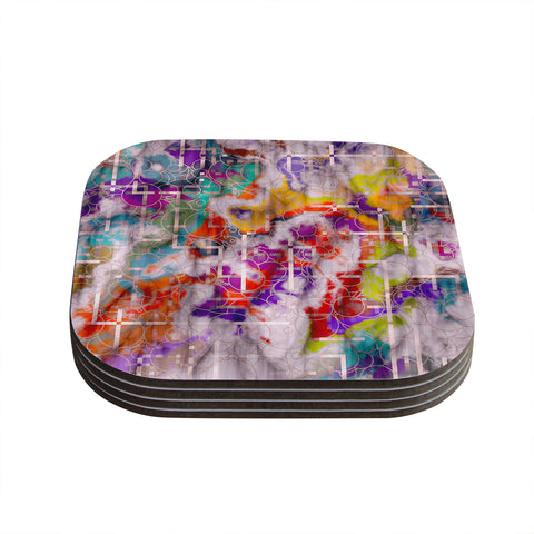 "Michael Sussna ""Quantum Foam"" Rainbow Geometric Coasters (Set of 4)"
