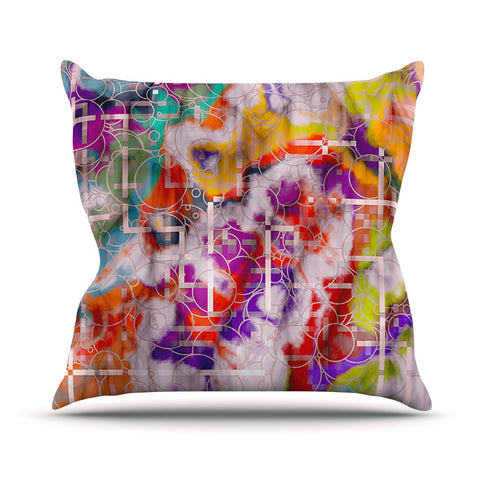 "Michael Sussna ""Quantum Foam"" Rainbow Geometric Outdoor Throw Pillow - KESS InHouse  - 1"
