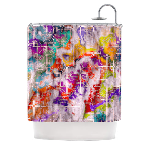 "Michael Sussna ""Quantum Foam"" Rainbow Geometric Shower Curtain - KESS InHouse"