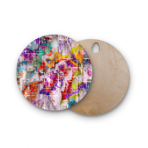 "Michael Sussna ""Quantum Foam"" Rainbow Geometric Round Wooden Cutting Board"