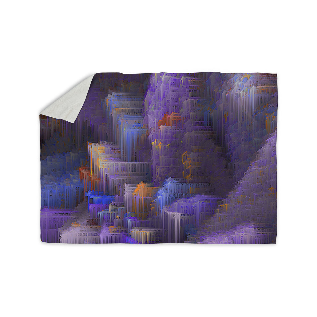 "Michael Sussna ""Purple Mountain Majesty"" Purple Sherpa Blanket - KESS InHouse  - 1"