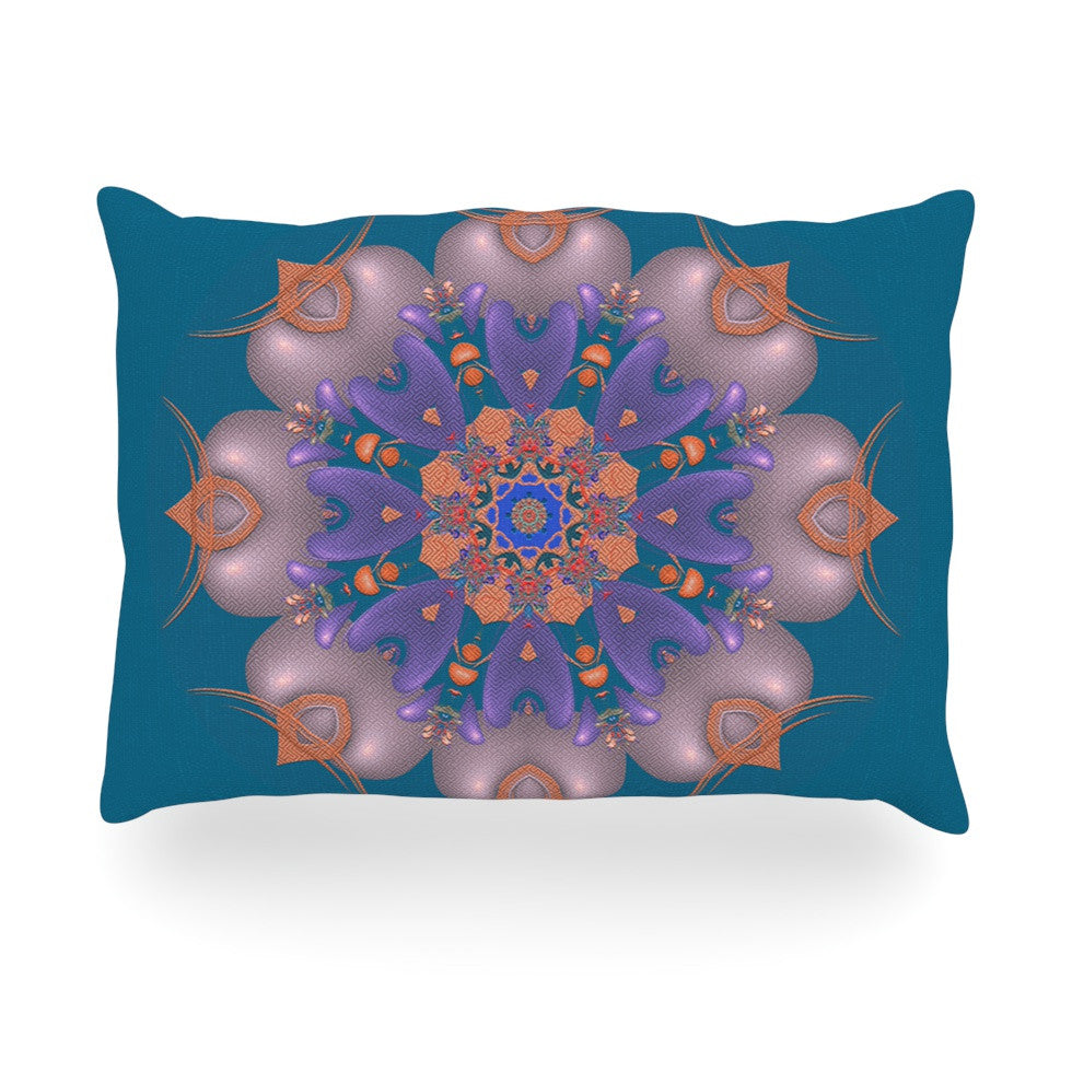 "Michael Sussna ""Whisker Lily"" Orange Teal Oblong Pillow - KESS InHouse"