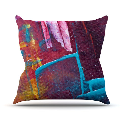 "Malia Shields ""Cityscape Abstracts II"" Multicolor Painting Throw Pillow - Outlet Item - KESS InHouse"