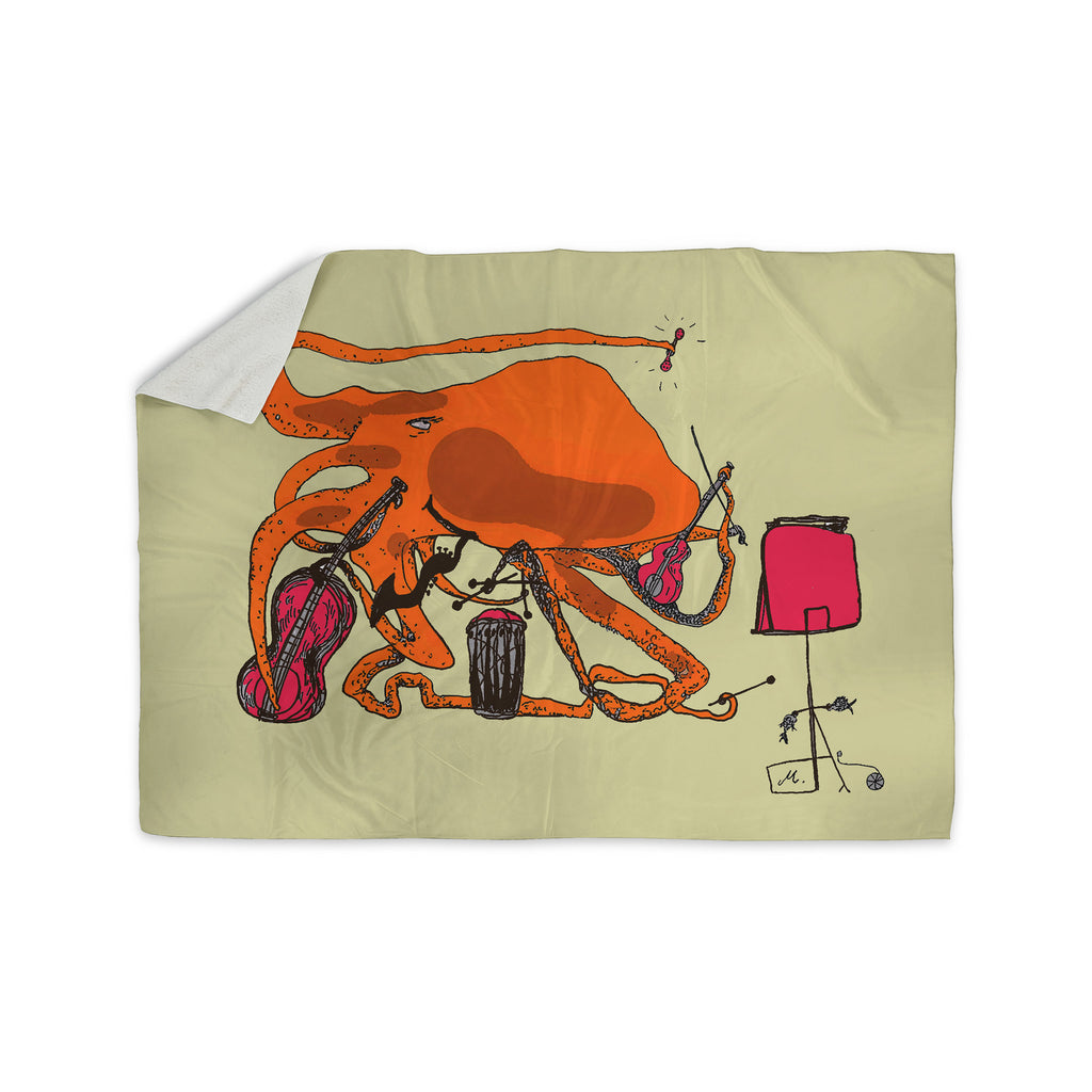 "Marianna Tankelevich ""Playful Octopus"" Sherpa Blanket - KESS InHouse  - 1"
