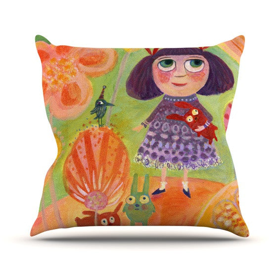 "Marianna Tankelevich ""Flowerland"" Outdoor Throw Pillow - KESS InHouse  - 1"