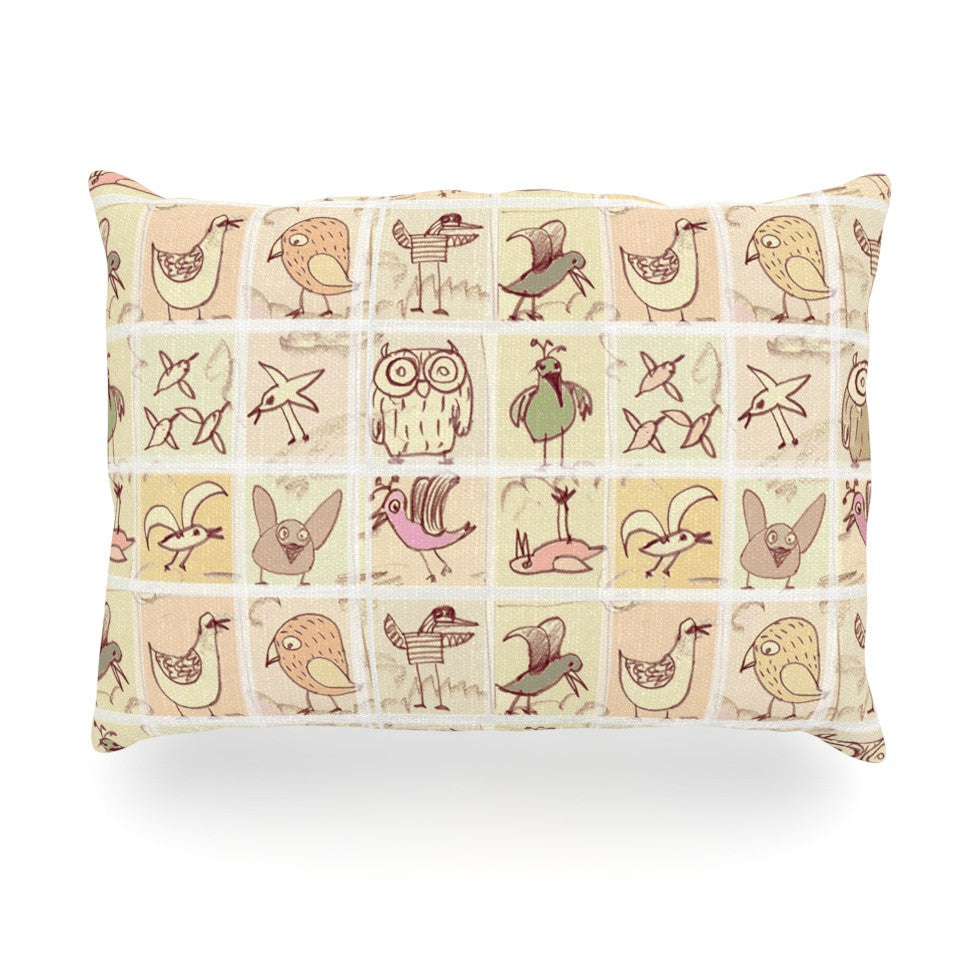 "Marianna Tankelevich ""Birdies"" Yellow Brown Oblong Pillow - KESS InHouse"