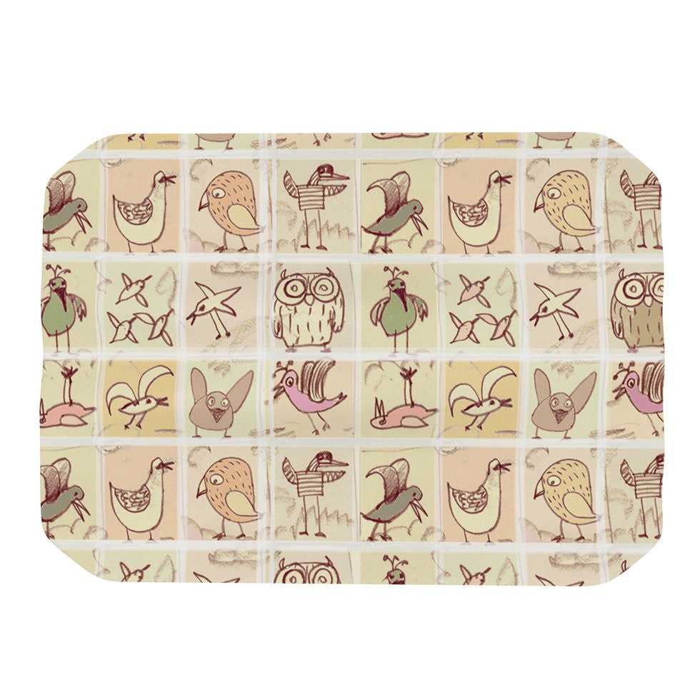 "Marianna Tankelevich ""Birdies"" Yellow Brown Place Mat - KESS InHouse"