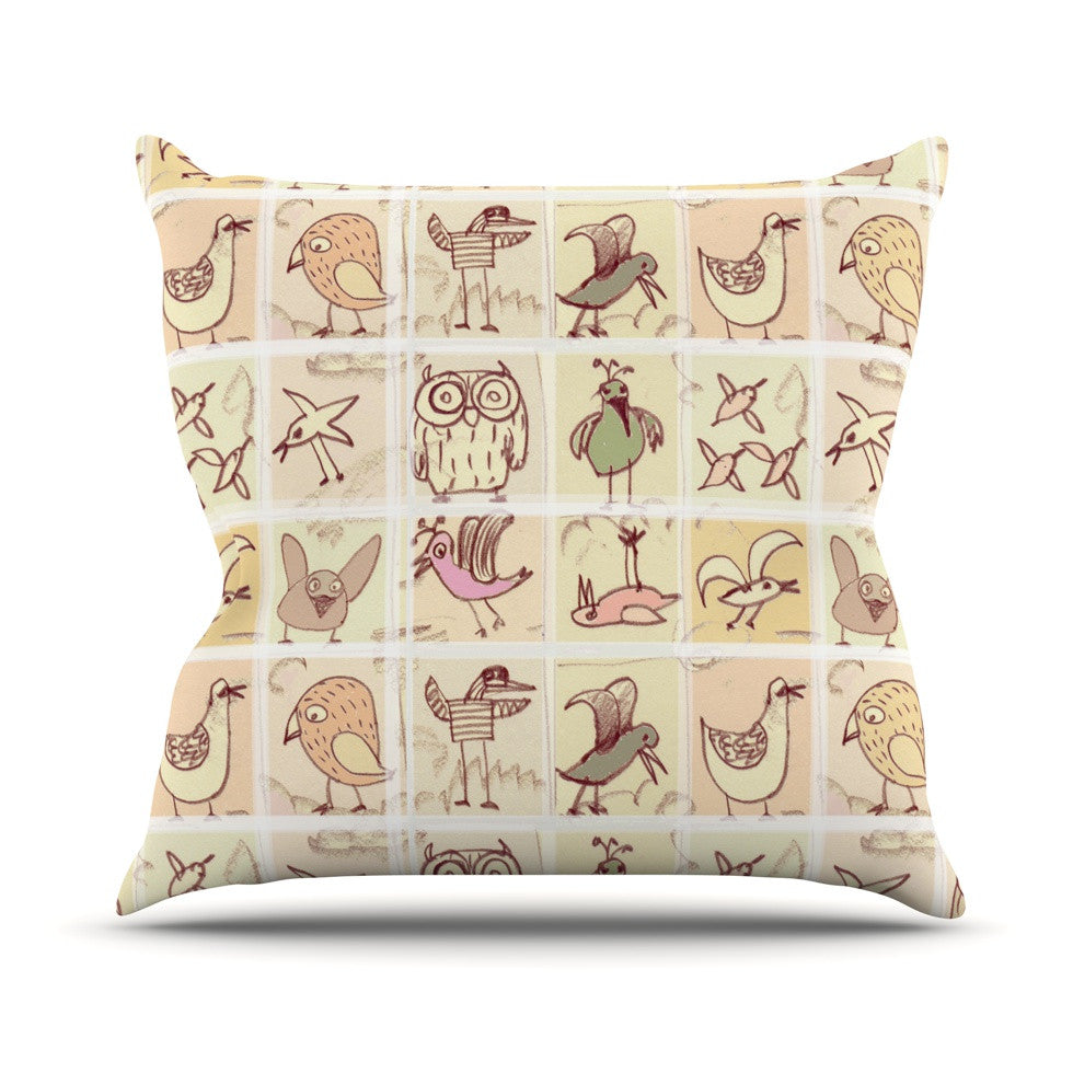 "Marianna Tankelevich ""Birdies"" Yellow Brown Throw Pillow - KESS InHouse  - 1"